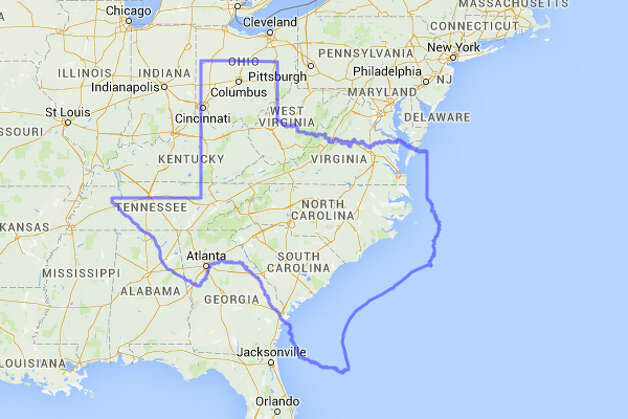 North and South Carolina fit easily inside Texas with room to spare for Virginia, Alabama, West Virginia, Kentucky, Tennessee and Georgia.  Photo: MAPfrappe/Google Maps