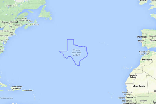 Texas looks a bit lonely stuck out in the middle of the Atlantic Ocean. Photo: MAPfrappe/Google Maps