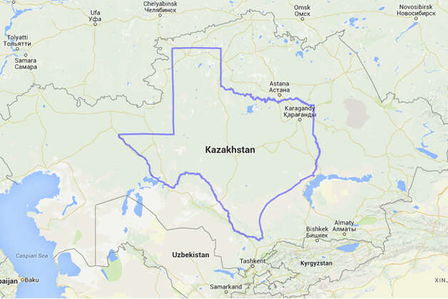 Texas doesn't exactly outsize Kazakhstan. Insert obligatory Borat joke. Photo: MAPfrappe/Google Maps