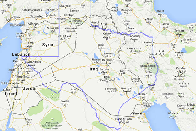 Iraq, occupied by U.S. forces from 2003 to 2011, almost fits inside of Texas' borders.  Photo: MAPfrappe/Google Maps