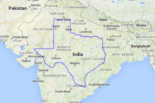 Texas would see a huge population spike if placed inside India's borders.  Photo: MAPfrappe/Google Maps
