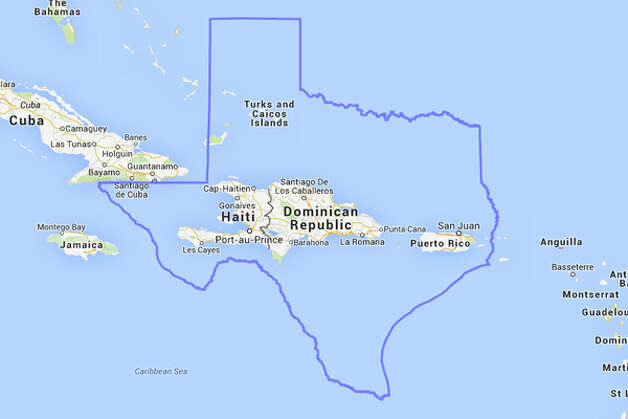In case you were wondering, Haiti, the Dominican Republic and the U.S. territory of Puerto Rico could easily fit inside of Texas. Photo: MAPfrappe/Google Maps