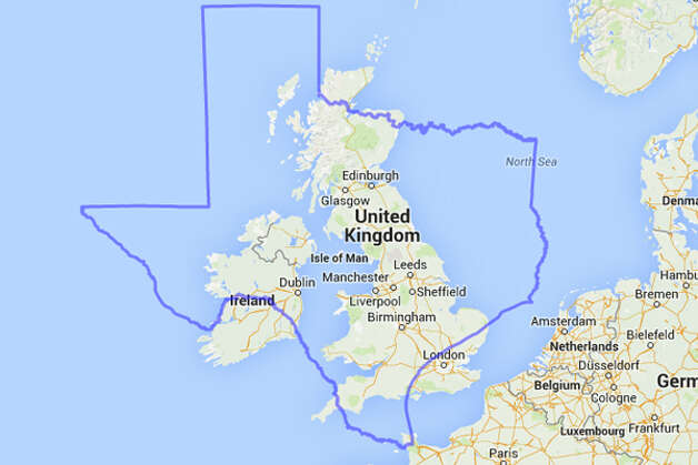 Ireland, Northern Ireland, Scotland, Wales and Great Britain might be able to stand living inside Texas. They might have to ditch the accents, though. Photo: MAPfrappe/Google Maps