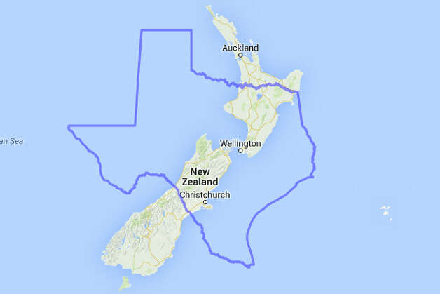 There's not enough room for New Zealand's hobbits and elves to fit inside of Texas. It's unclear how well they'd get along with open carry activists. Photo: MAPfrappe/Google Maps