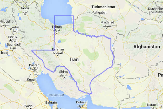 A bit of the Panhandle might be swimming in the Caspian Sea if Texas was placed on top of Iran. Photo: MAPfrappe/Google Maps