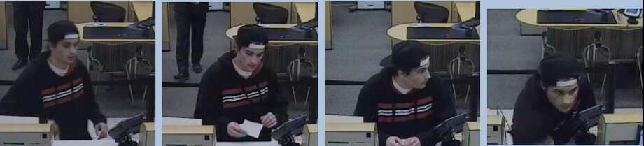 Bank robbery suspect Mohannad Shehadeh was turned in by his father after seeing these surveillance pictures Photo: San Mateo Police / ONLINE_YES