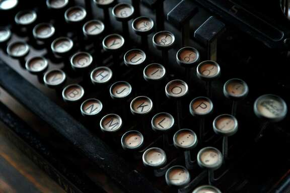 The keyboard of an old Remington typewriter is displayed in the study where author Jack London did much of his writing in Glen Ellen.