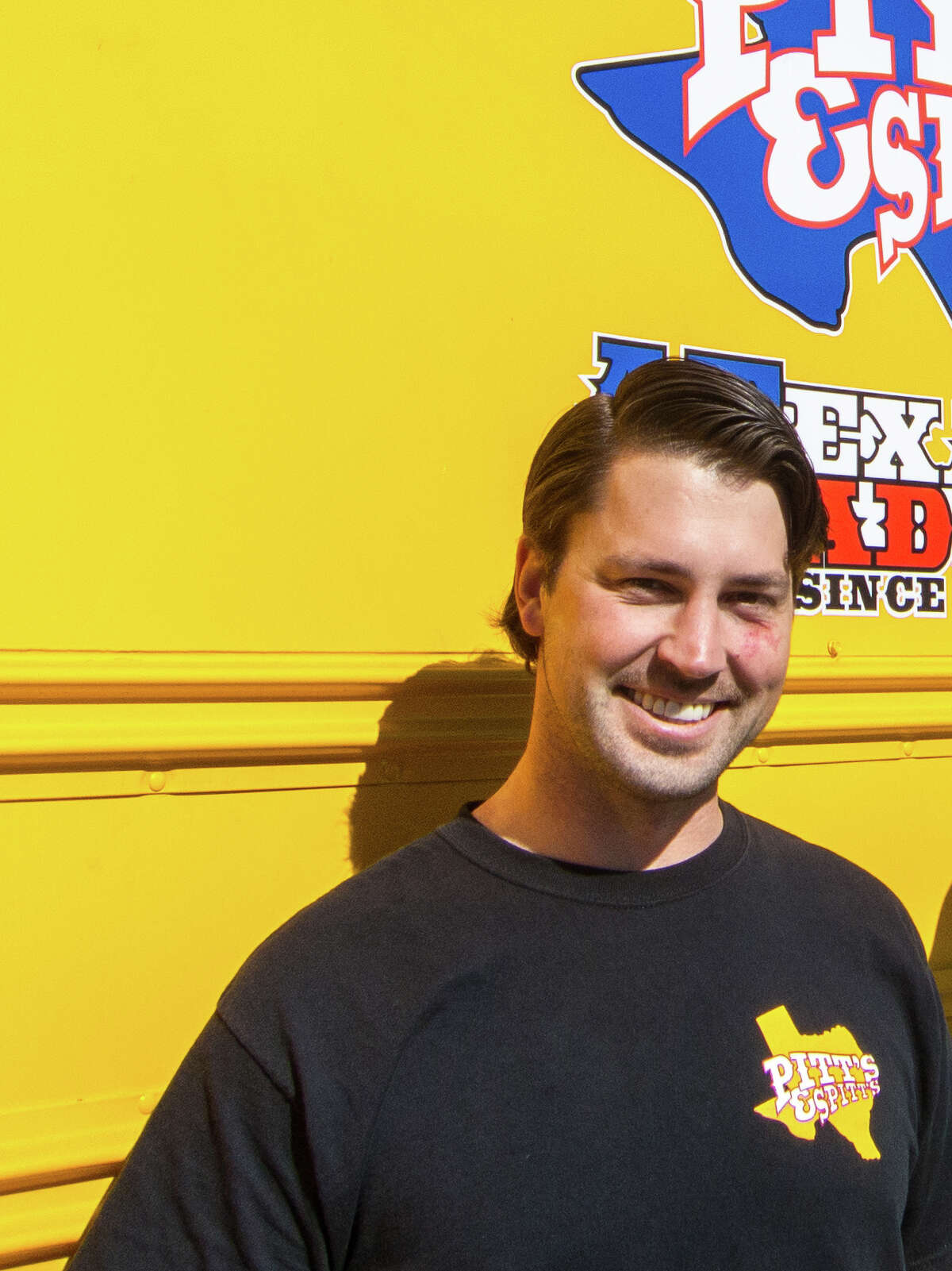 Ryan Zboril of the Pitt's & Spitt's barbecue cooker company.