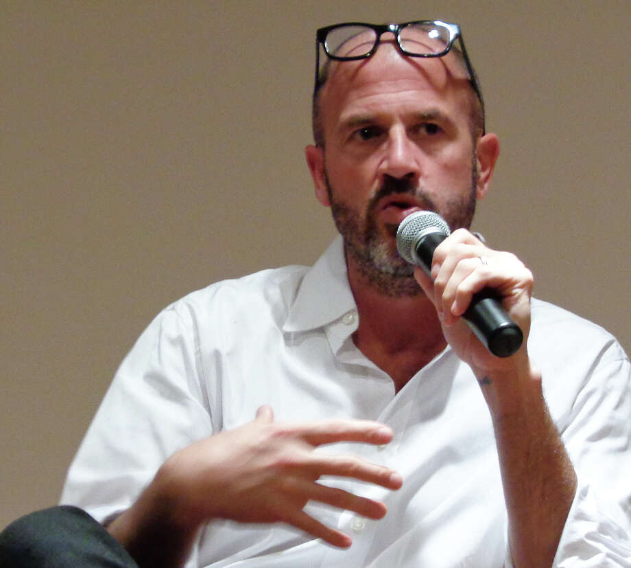 Bestselling author James Frey speaks about his new book, ìEndgame: The Calling,î to a hometown crowd at the New Canaan Library. Photo: Meg Barone / New Canaan News