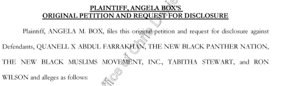 Excerpt from a defamation lawsuit filed by former Houston ISD teacher Angela Box against community activist Quanell X.