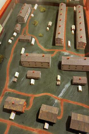 Scale model of the Greenbush Cantonment by Warren Kuchenbecker on display at the  Rensselaer Co. Historical Society's new War of 1812 exhibition Wednesday Sept. 12, 2012. The new exhibit opens this Friday.  (John Carl D'Annibale / Times Union) Photo: John Carl D'Annibale / 00019225A