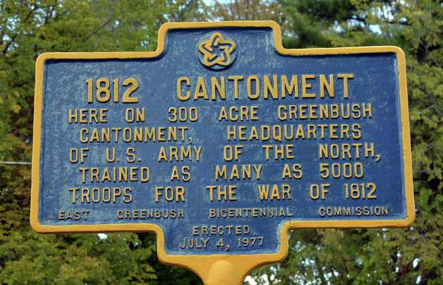 War of 1812 Greenbush Cantonment New York State Historical Marker on Hampton Manor at Columbia Turnpike Thursday Sept. 18, 2014, in East Greenbush, NY.  (John Carl D'Annibale / Times Union) Photo: John Carl D'Annibale / 00028681A