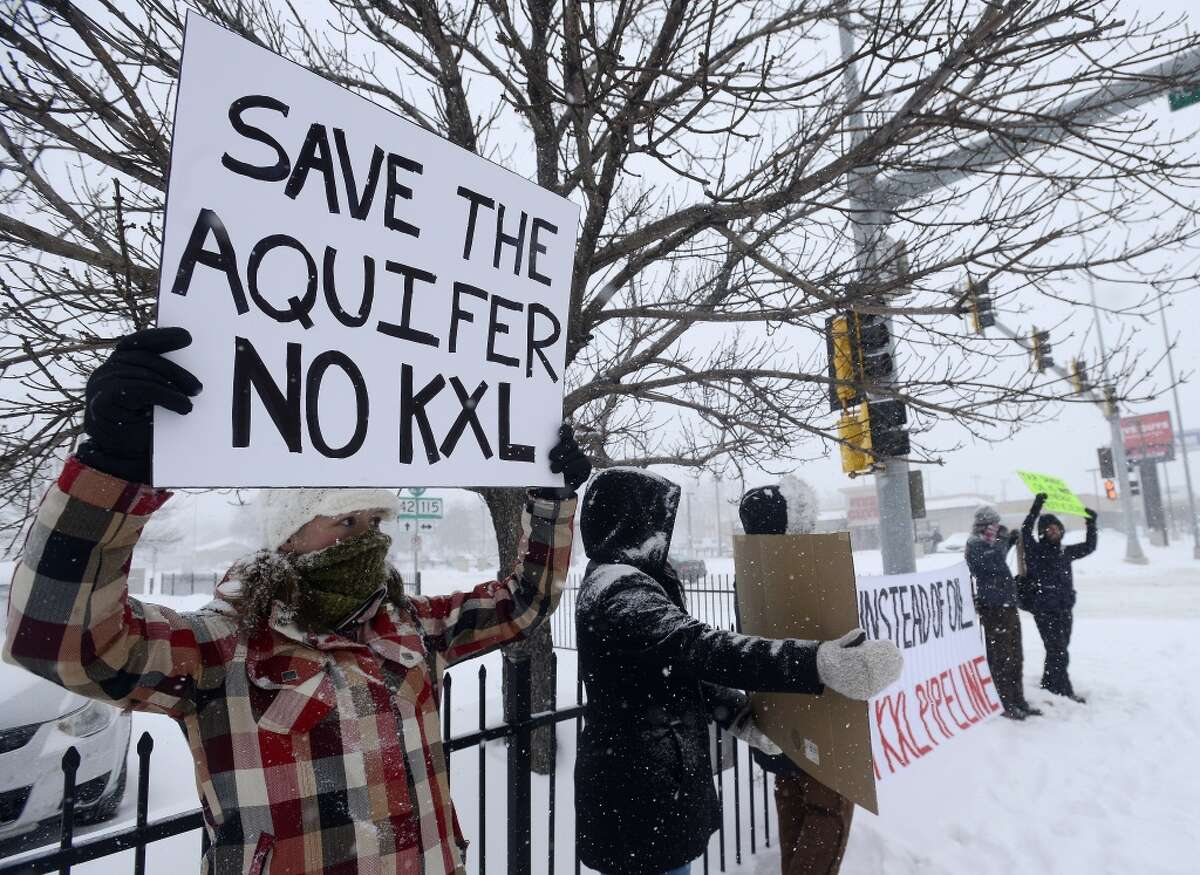 Valerie Schonewill and several others protested the Keystone XL pipeline in Sioux Falls, S.D., on Jan 5.
