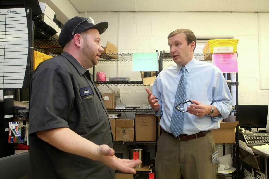 U.S. Senator Chris Murphy , right, talks with an employee at Straton Industries during his push last year for the American Jobs Matter Act. Murphy has reintroduced the legislation this week along with U.S. Sen. Richard Blumenthal. Photo: BK Angeletti, B.K. Angeletti / Connecticut Post freelance B.K. Angeletti