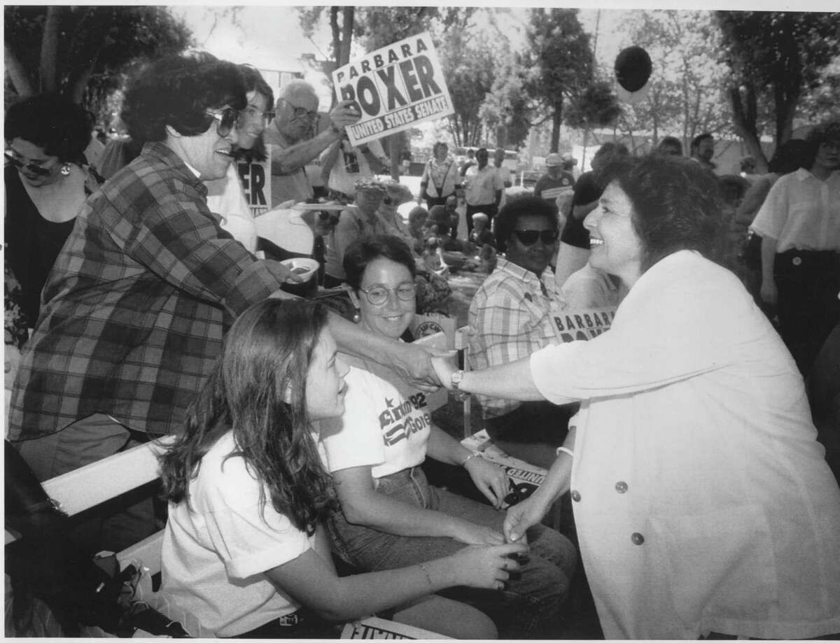 Barbara Boxer campaigns for the U.S. Senate at the Alameda County Fairgrounds in Pleasanton in 1992.