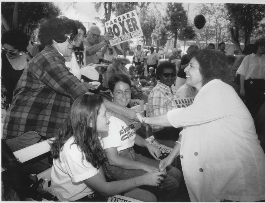Barbara Boxer campaigns for the U.S. Senate at the Alameda County Fairgrounds in Pleasanton in 1992. Photo: Frederic Larson / The Chronicle / ONLINE_YES
