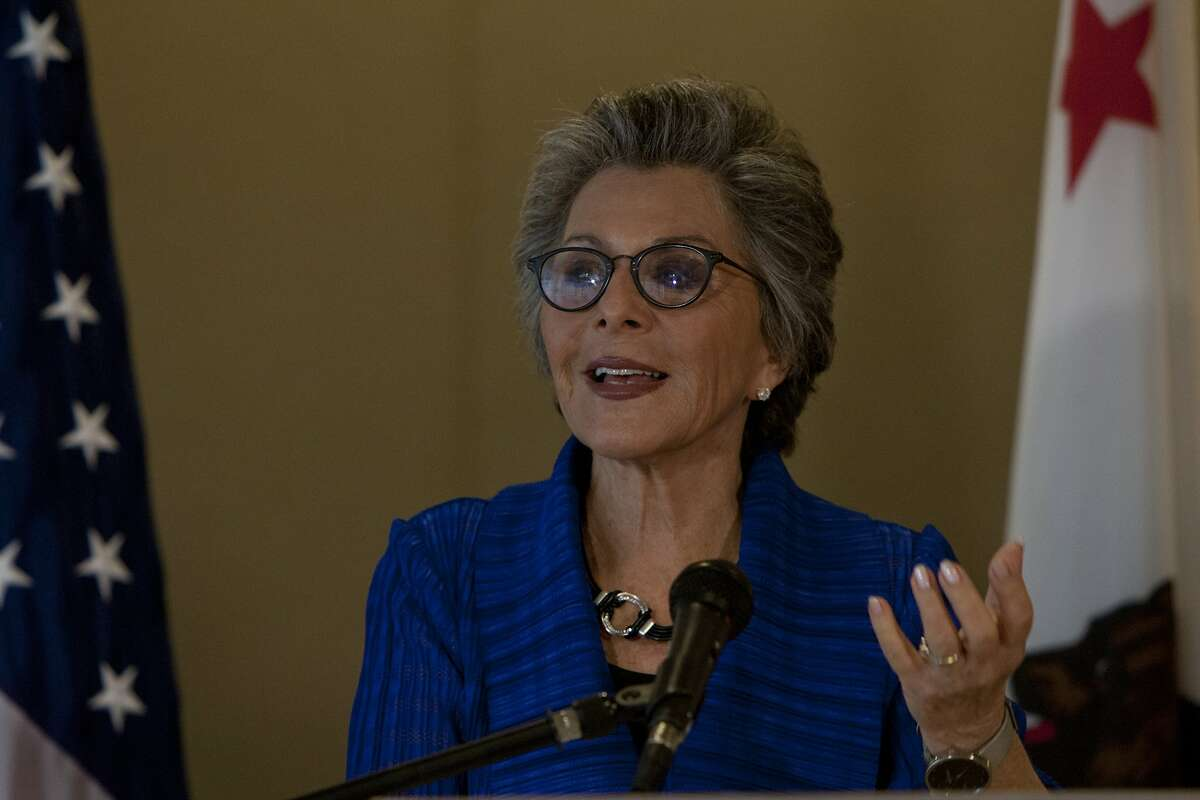 Barbara Boxer answers questions from reporters during a press conference on Friday, September 5, 2014 in San Francisco, Calif.
