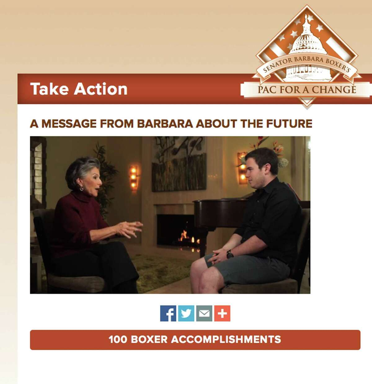Sen. Barbara Boxer reveals she won't seek re-election in 2016 during an online interview with grandson Zachary Rodham.