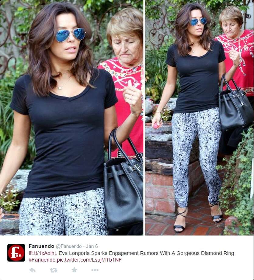Photos snapped of Eva Longoria wearing a band on her left hand fueled speculation that she is engaged. Photo: Twitter