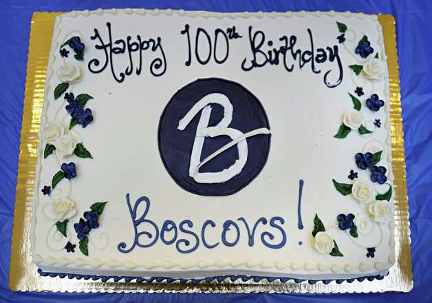 A birthday cake for Boscov's 100th year in business during a ceremony at the Clifton Country Mall Boscov's store Thursday Jan. 8, 2015, in Clifton Park, NY.  (John Carl D'Annibale / Times Union) Photo: John Carl D'Annibale / 00030116A