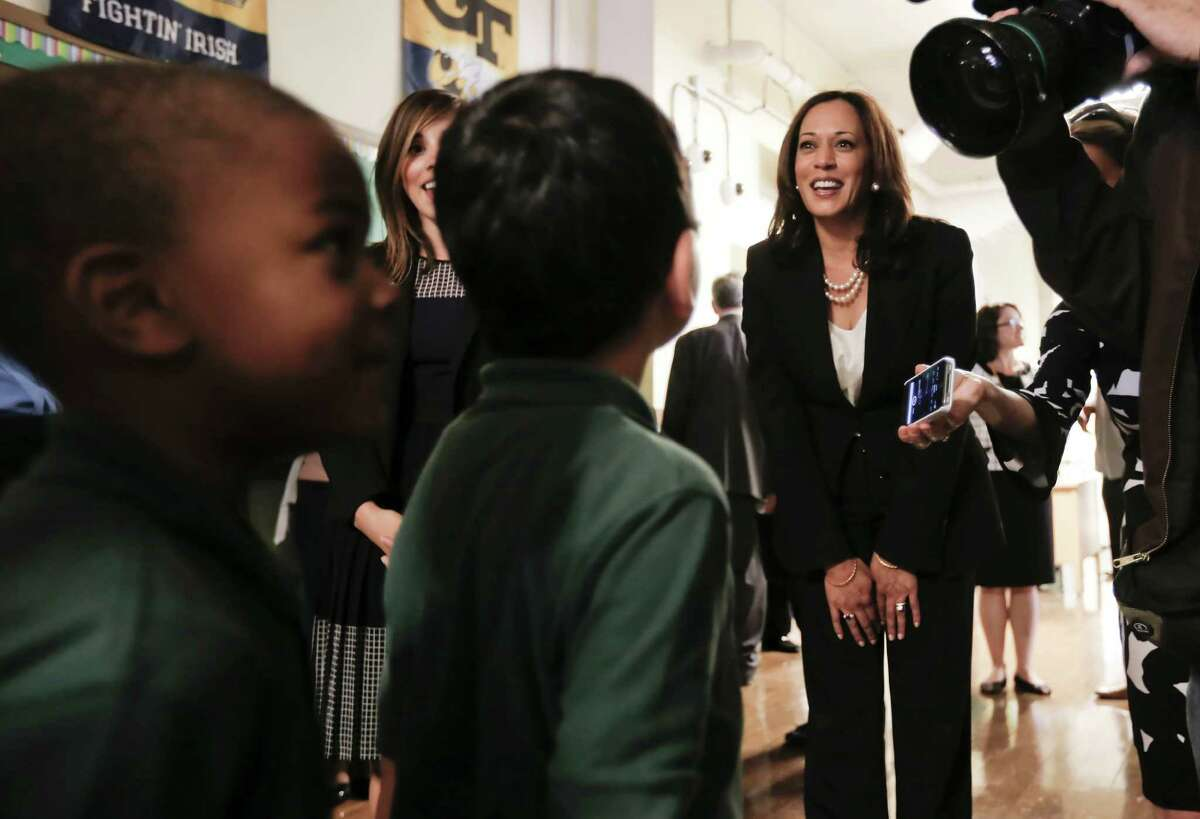 California State Attorney General Kamala Harris (center) is among the top two names on the Democrats' list to run for Sen. Barbara Boxer's seat.