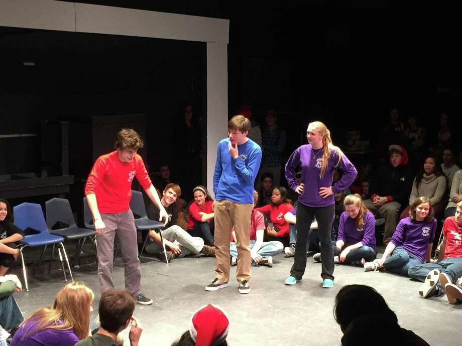 Students in Greenwich High School's performing arts program will be going for the laughs Friday night during Comedy Tonight, at the school's Black Box Theater. Above is a Comedy Tonight performance back in December. Photo: Contributed Photo / Greenwich Time Contributed