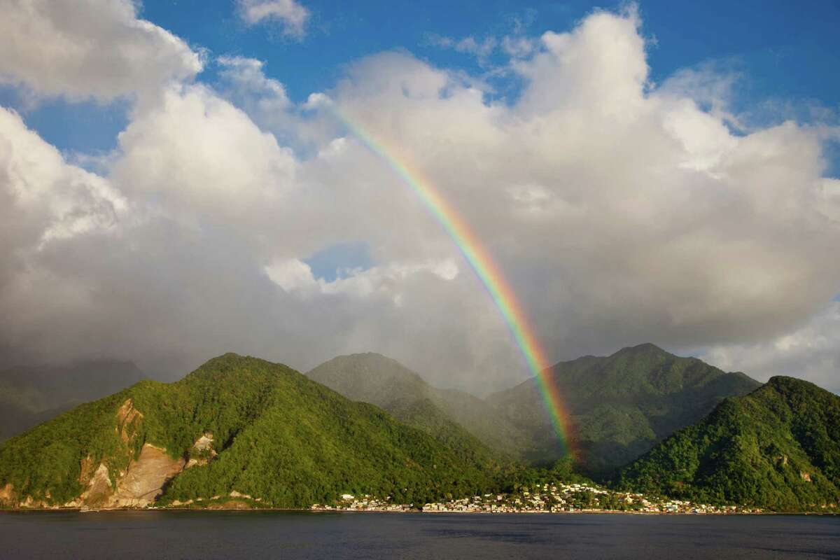 A rainbow over the Caribbean island of Dominica in the West Indies. Freedoms are guaranteed in its Constitution.