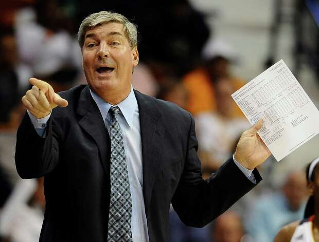 FILE - In this May 25, 2013, file photo, New York Liberty head coach Bill Laimbeer gestures during the second half of a WNBA basketball game against Connecticut in Uncasville, Conn. The New York Liberty rehired Bill Laimbeer as their head coach Thursday, Jan. 8, 2015,  the team announced.  (AP Photo/Jessica Hill, File) ORG XMIT: NY151 Photo: Jessica Hill / FR125654 AP
