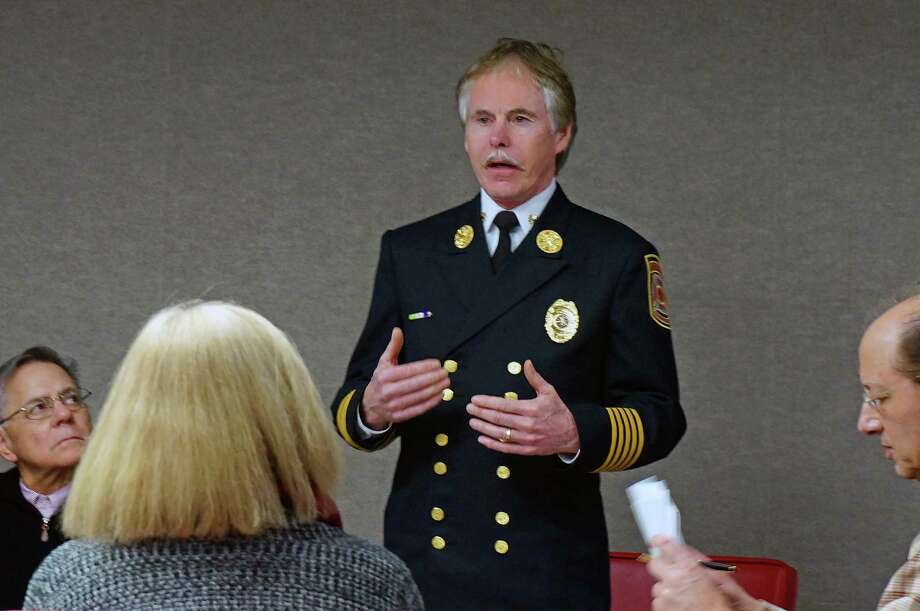 Bridgeport Fire Chief Brian Rooney explains the assessment process that has been followed to find a new deputy chief to the Fire Commission Thursday. Photo: Genevieve Reilly / Fairfield Citizen