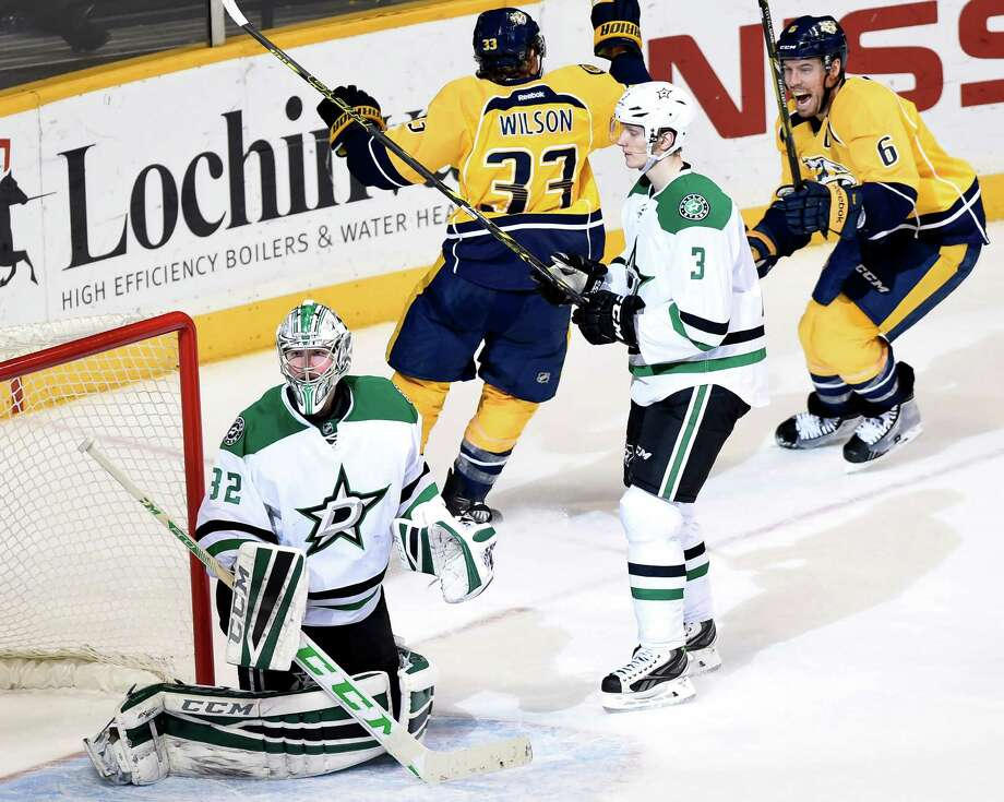 Nashville's Shea Weber (6) reacts after slipping a shot past Dallas goalie Kari Lehtonen in overtime. Photo: Sanford Myers / Associated Press / FR170661 AP