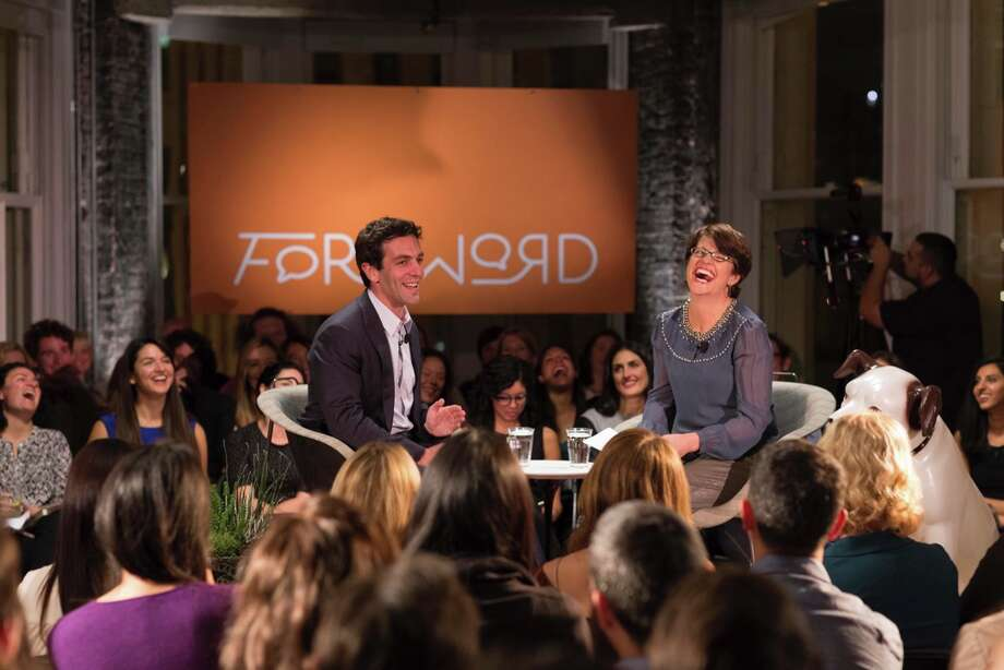 """B.J. Novak and Kelly Corrigan in the first episode of """"Foreword."""" Photo: Drew Altizer"""