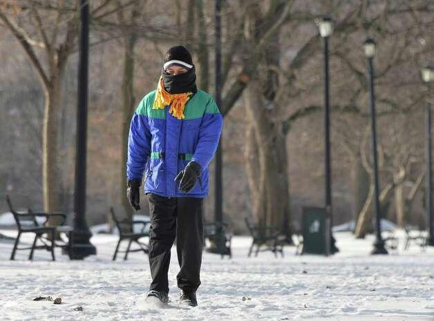 Kumar Bhandari of Albany walks through freshly fallen snow in Washington Park on his way to work Friday Jan. 9, 2015, in Albany, NY.  (John Carl D'Annibale / Times Union) Photo: John Carl D'Annibale / 00030144A