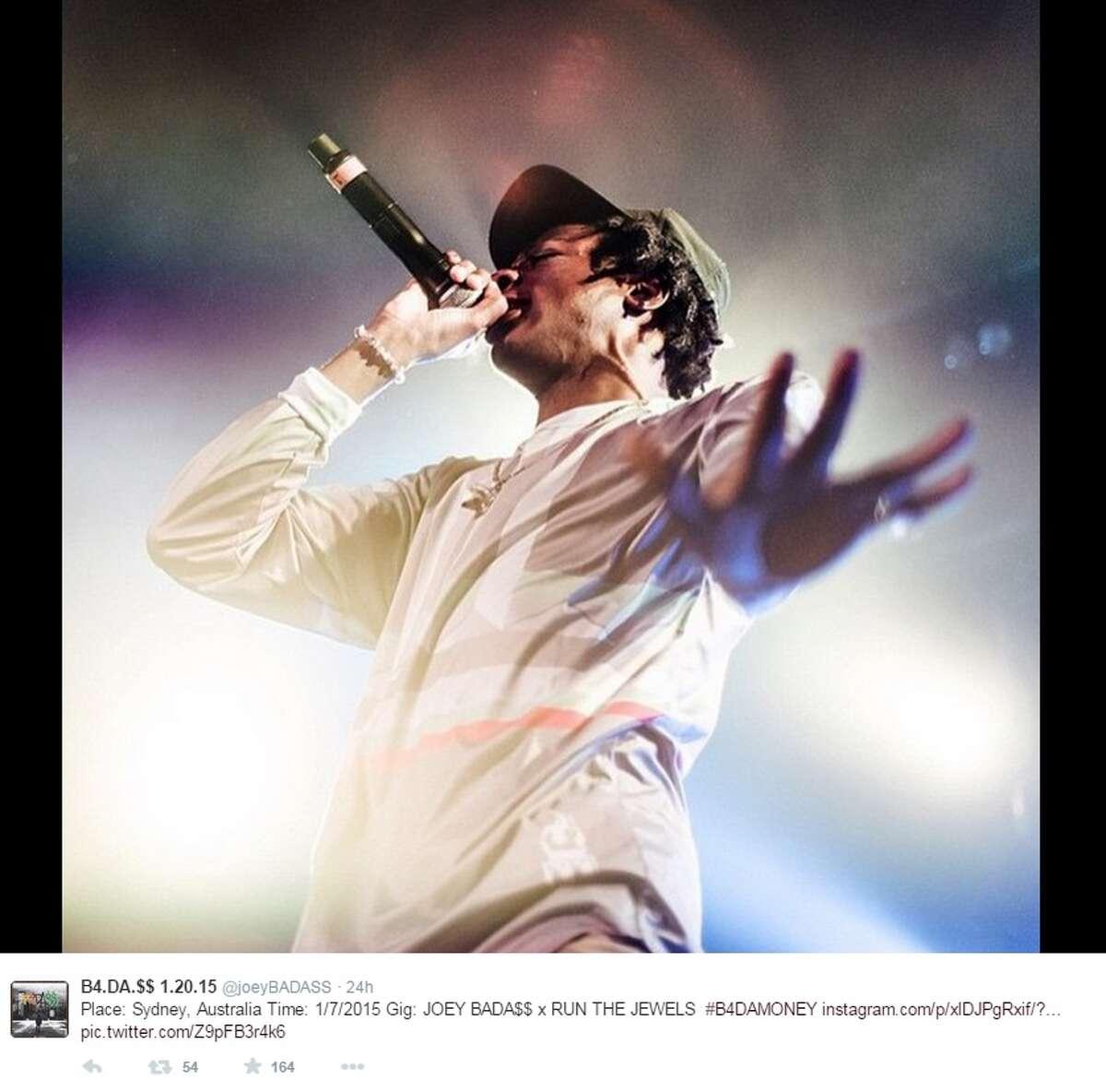 Photo of rapper Joey Bada$$ shared on Twitter.