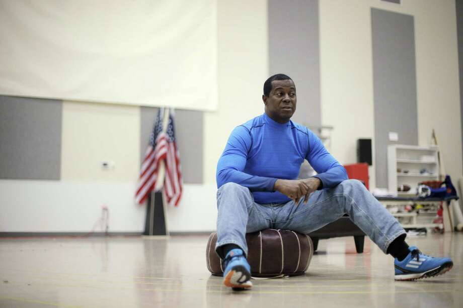 "Former 49er Dwight Hicks rehearses a monologue for Berkeley Rep's production of ""X's and O's: (A Football Love Story)."" Photo: Carlos Avila Gonzalez / Carlos Avila Gonzalez / The Chronicle / ONLINE_YES"