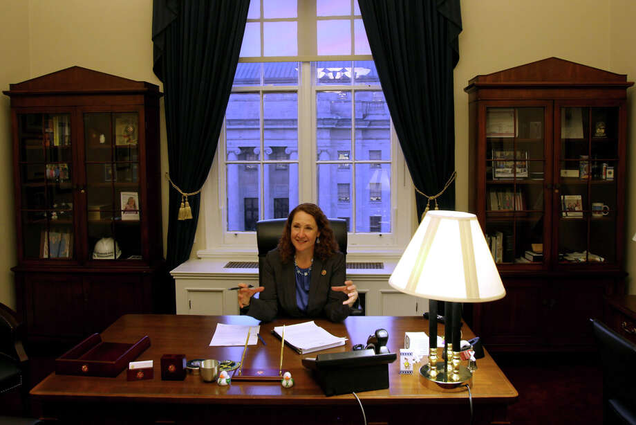 Rep. Elizabeth Esty, D-Conn., discusses a statement she is editing with a staff member in her Washington, D.C. office Monday, Jan. 5, 2015. Esty is one of a record 84 women members of the House. Photo: Connor Radnovich, Connor Radnovich/ Hearst Newspap / Connecticut Post contributed Connor Radnovich/ Hearst Newspapers
