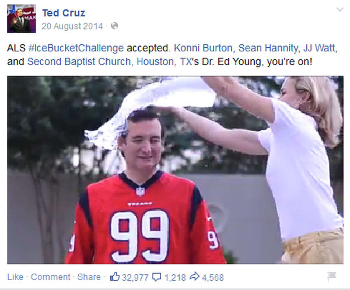 Of course Cruz, like many other politicians, took part in 2014's ALS ice bucket challenge fad.