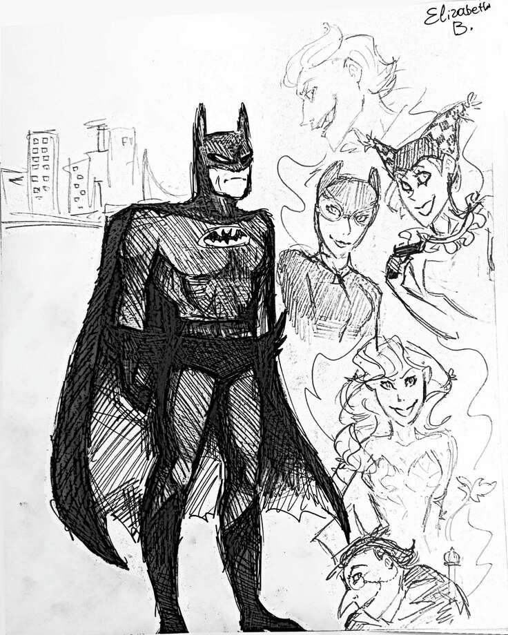 Our Cartoonist of the Week is 13-year old Elizabeth Bausman, who visits Greenwich from Moscow a few times each year.  Elizabeth enjoys cartoons such as Popeye, Looney Toons, and Anime-style cartoons.  She also likes reading superhero comic books such as Batman.  Cartooning instructor Phil Lohmeyer chose Elizabeth's drawing of Batman because it is one of the best drawings he has seen of this character, and also includes enemies of Batman such as The Joker, Catwoman, and The Penguin.  Elizabeth says she also creates her own characters in the Japanese Anime style, as do many young Russian artists, and suggests that American students do the same.  Elizabeth has been contributing to the Greenwich Cartooning Chronicles (www.GreenwichCartooningChronicles.vpweb.com) since 2011.  The cartooning class is taught by Lohmeyer (philliplohmeyer@yahoo.com), an artist from Cos Cob who instructs groups lessons at the Old Greenwich-Riverside Community Center (203-637-3659) and private lessons at Jack Dog Studio on Greenwich Avenue (203-487-6100). Photo: Contributed Photo / Greenwich Time Contributed