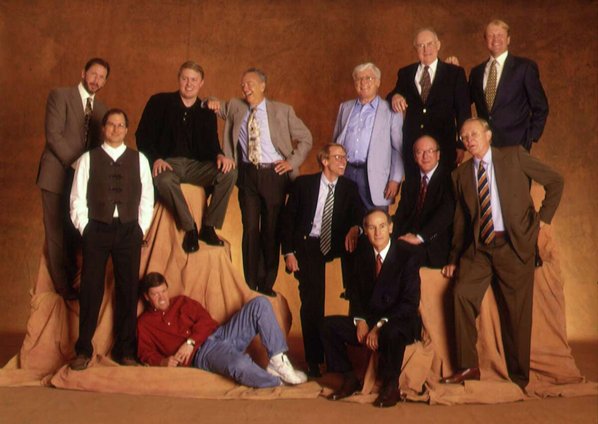Silicon Valley executives reflect the lack of diversity in the tech industry in 1997 that persists to a large extent today. Top row, from left: Larry Ellison, Oracle; Marc Andreessen, Netscape; Andy Grove, Intel; Al Shugart, Seagate Technology; Gordon Moore, Intel; John Chambers, Cisco Systems. Bottom row, from left: Steve Jobs, Apple Computer, Pixar; Scott MCNEALY, Sun Microsystems; John Doerr, Kleiner Perkins Caufield & Byers; Larry Sonsini,Wilson Sonsini, Goodrich & Rosati; Lew Platt, Hewlett-Packard; Jim Clark, Netscape.