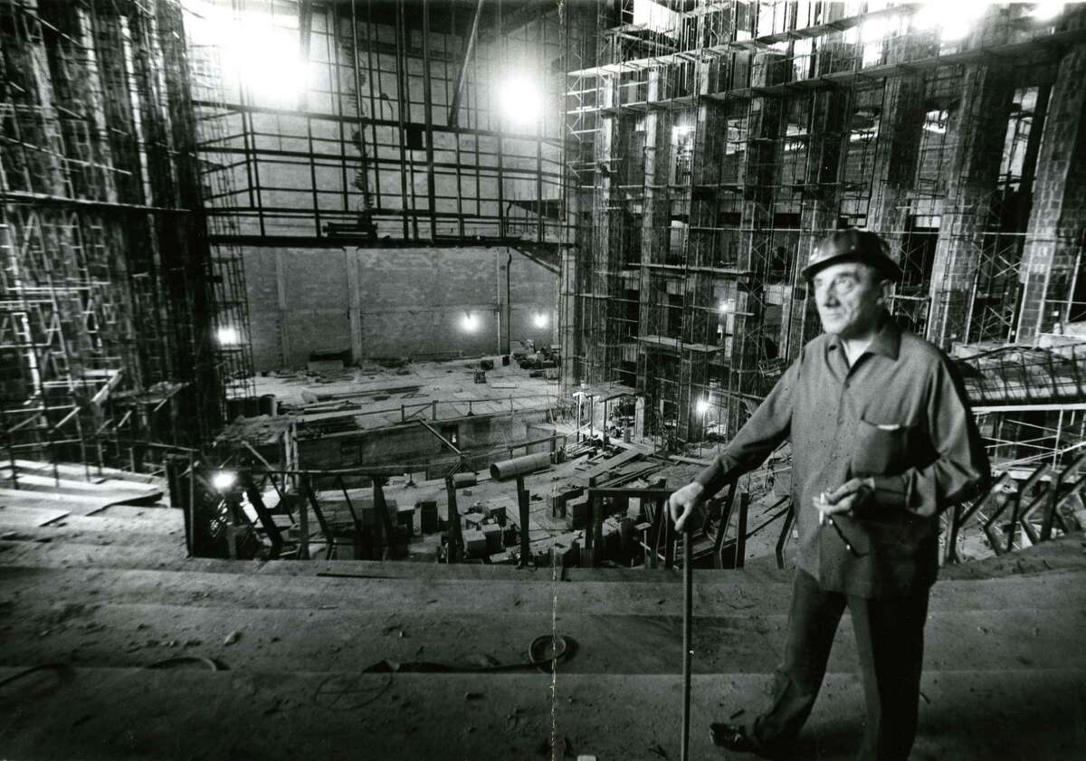 In October 1965, Sir John Barbirolli visits Jesse H. Jones Hall for the Performing Arts construction site. See more photos of the performance hall as it was being constructed in downtown Houston...