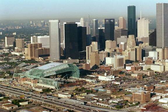 Aerial view of construction progress at the Ballpark at Union Station or Enron Field shot September 23, 1999 and showing the area surrounding the new ballpark on the East side of downtown Houston. (Richard Carson/Chronicle)