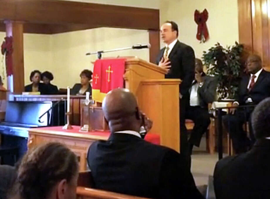 "Ex-Bridgeport Mayor Joseph Ganim, in an online video of his New Year's Day speech at an event hosted by the Interdenominational Ministerial Alliance of Greater Bridgeport, tells the audience he is ""I'm sorry"" for the corruption that ended his political career. Photo: Contributed Photo / Connecticut Post Contributed"