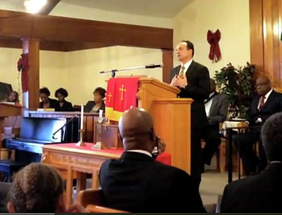 Ex-Bridgeport Mayor Joseph Ganim, in an online video of his New Year's Day speech at an event hosted by the Interdenominational Ministerial Alliance of Greater Bridgeport, tells the audience he is