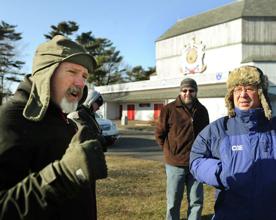 Ed Goodrich, left, of Stratford and a group of fellow concerned citizens protest plans to tear down the American Shakespeare Festival Theatre in Stratford, Conn. on Thursday, January 8, 2014. Photo: Brian A. Pounds / Connecticut Post