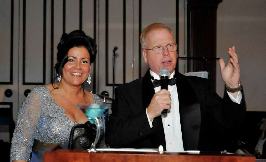 Mayor Mark Boughton and his wife Phyllis address attendees at the 12th Annual Mayor's Ball at the Amber Room Colonnade, in Danbury, Saturday, Jan 29, 2011.