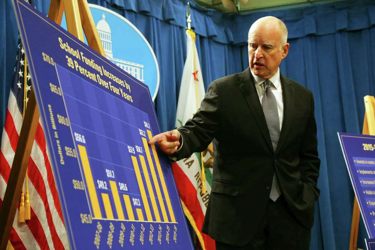 Gov. Jerry Brown introduces his 2015 state budget at the Capitol in Sacramento on Friday