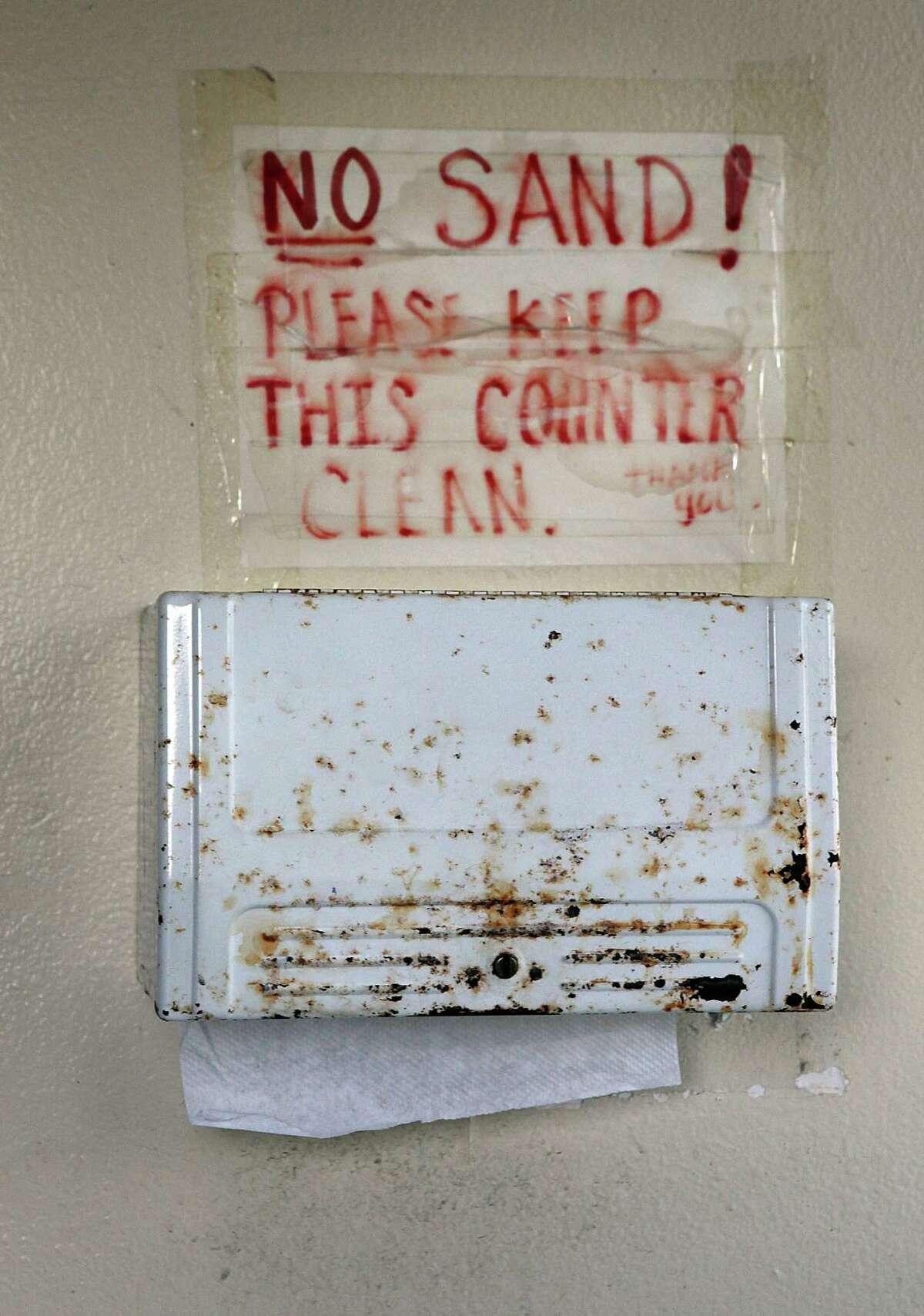 Towel dispenser seen in restroom at Douglass Park in San Francisco, Calif., on Wednesday, January 7, 2015.