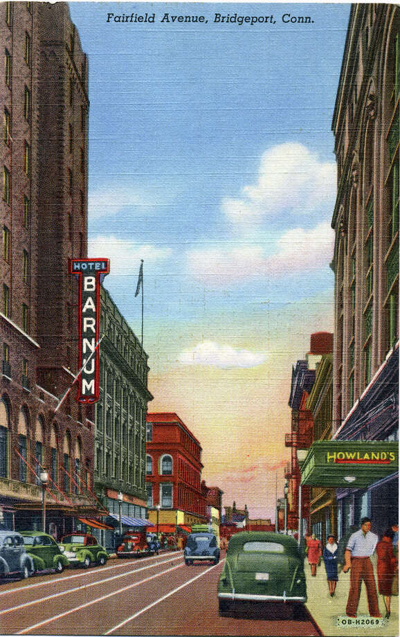 The Bridgeport History Center has an extensive postcard collection; a selection is on its website. Most are undated, but library officials say that many were produced in the first 33 years of the 20th century. Above shows Fairfield Avenue, the Barnum Hotel and an entrance to Howland's Department store in Bridgeport. Photo: Contributed Photo / Connecticut Post Contributed