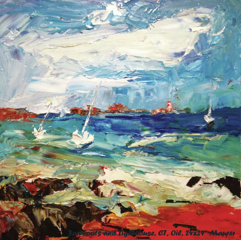 Jodie Maurer, a local artist, has an exhibition of her oil paintings, many which were inspired by scenes of Greenwich, Conn., at the   the Gertrude White Gallery at YWCA Greenwich through Jan. 30, 2015. This one is of sailboats and the lighthouse off the Tod's Point. Photo: Contributed Photo / Stamford Advocate Contributed photo