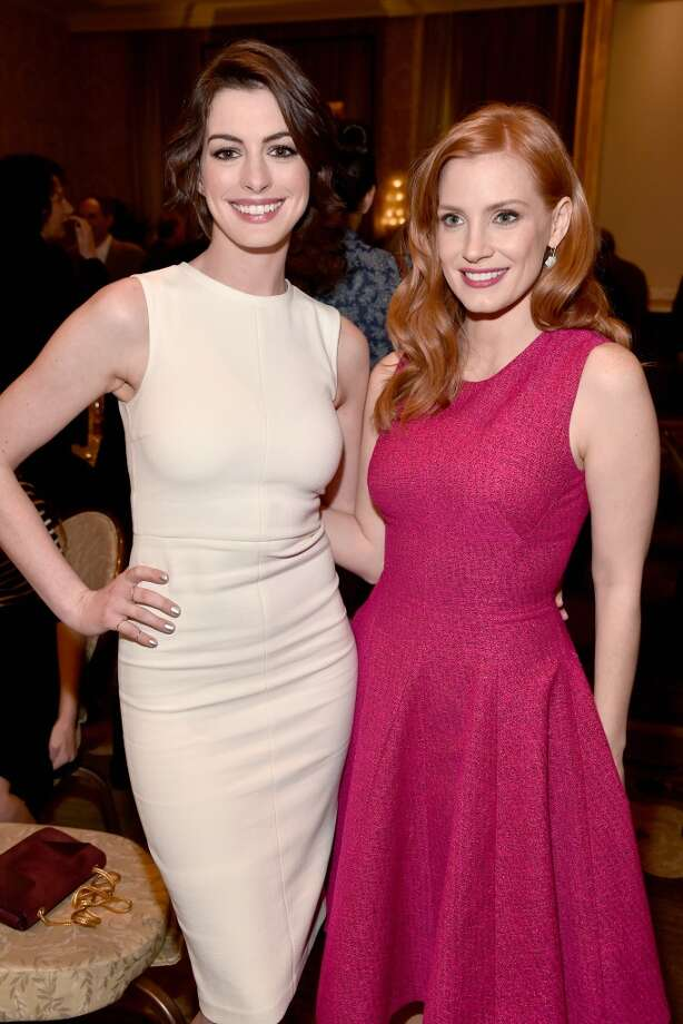 Actresses Anne Hathaway (L) and Jessica Chastain attend the 15th Annual AFI Awards at Four Seasons Hotel Los Angeles at Beverly Hills on January 9, 2015 in Beverly Hills, California. Photo: Frazer Harrison, Getty Images For AFI