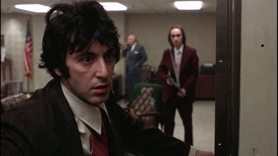 """Al Pacino (left) starred in 1975's """"Dog Day Afternoon."""" An early 62-page script for the movie is up for auction, along with two of Pacino's awards from other performances. Photo: SF International Film Festival / Warner Bros. 1975"""